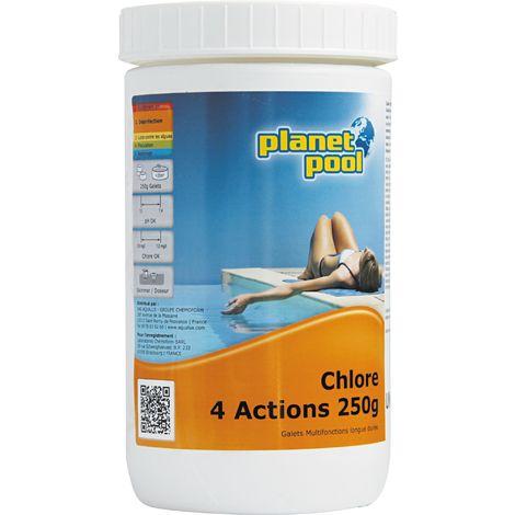 Chlore multi-action Planet Pool - Galets 250 g - 1 kg - Blanche et paillettes bleues