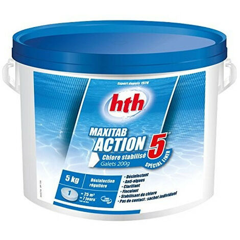 Chlore multiaction - HTH Maxitab - 5 Action Spécial liner galets 200 g. - 5 kg