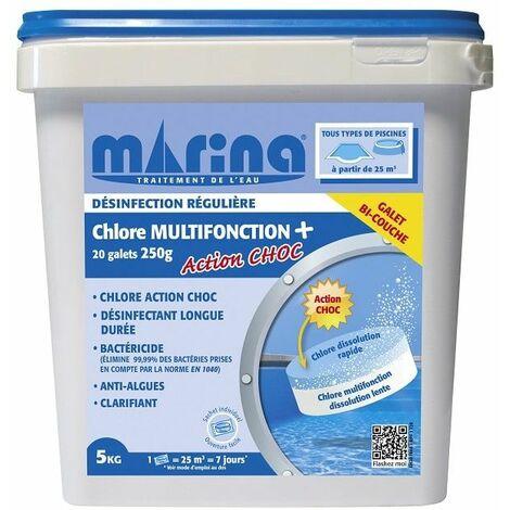 Chlore multifonction plus + Choc en galets de 250g Marina - 5kg