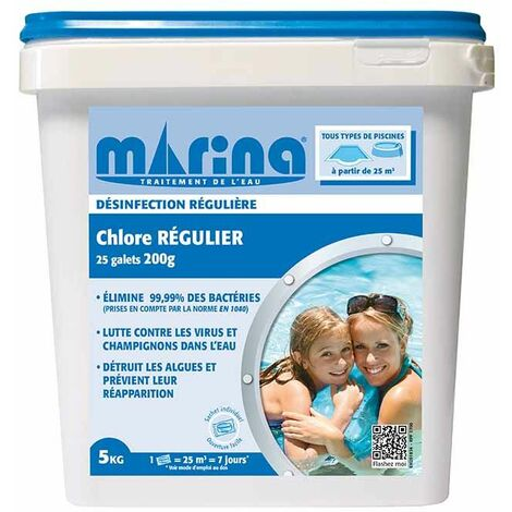 Chlore Régulier Galets 200 g - 5 kg
