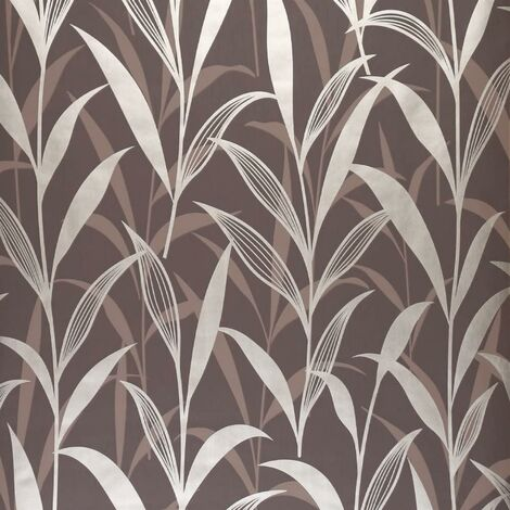 Chocolate And Gold Leaf Design Wallpaper Floral Dark Colours Feature Wall