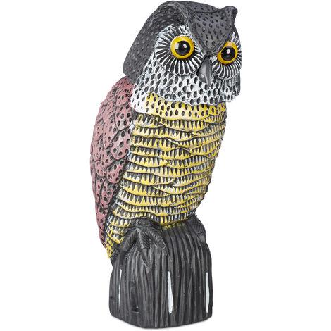 Chouette épouvantail, tête à hochement, statue décorative sur pieds, pour le jardin, balcon, terrasse, coloré