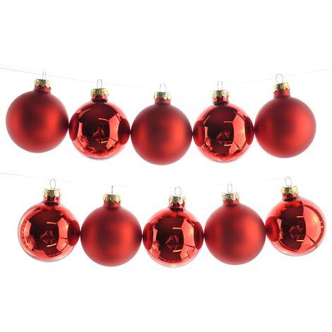 Material Christbaumkugeln.Christbaumkugeln Rot Leuchtend 5 X Glanzend 5 X Matt Glas O 6 Cm Wk