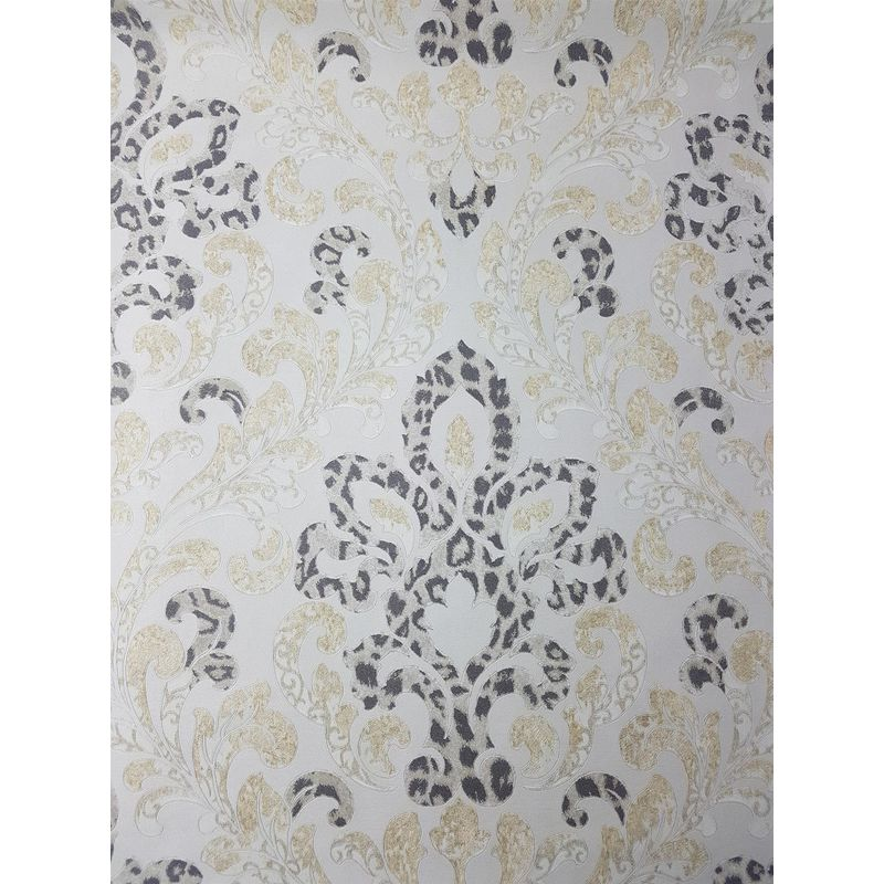 Image of Cream Gold Damask Wallpaper Glitter Charcoal Leopard Textured Floral Paste Wall