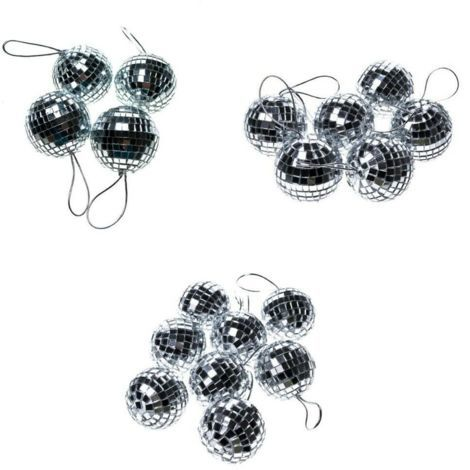 Christmas 18 x Silver Mirror Disco Ball Baubles Tree Ornament Small Medium Large