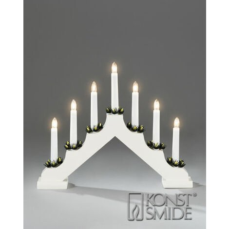 Christmas 40cm X 28cm Static Indoor WHITE Wood CANDLE ARCH / CANDLELIER/ bridge