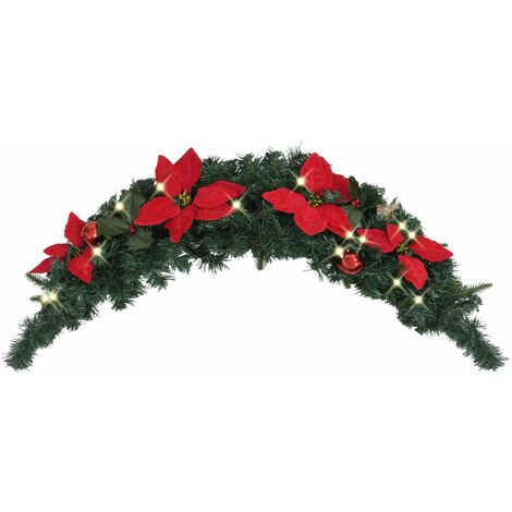 Christmas Arch with LED Lights Green 90 cm PVC