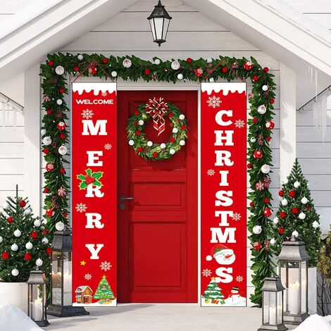 Christmas Banner - 2 Pcs Welcome Merry Christmas Porch Sign Door Banner - Red Christmas Decor Hanging Banners for Home Wall Door Party Apartment
