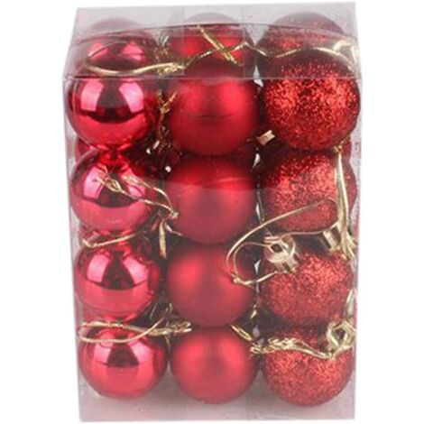 """main image of """"Christmas Baubles, 24/48 pcs Christmas Balls Ornaments for Christmas Tree Small Shatterproof Hanging Ball Baubles for Xmas Holiday Wedding Party Decorations Home Festival Decors (Red 3cm/24PC) SOEKAVIA"""""""