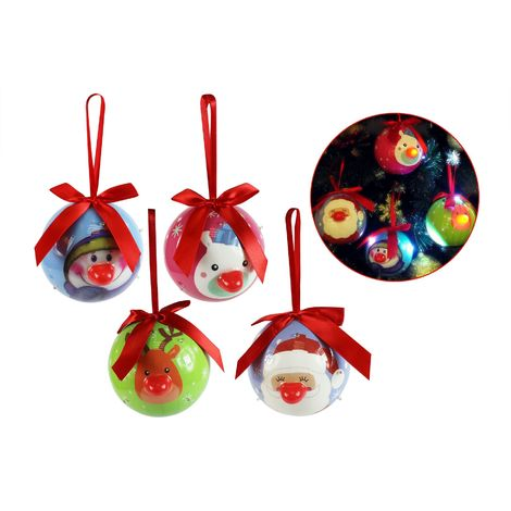 Christmas Baubles Flashing LED Tree Decorations Santa Reindeer Snowman Pack of 4