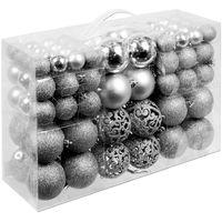 Christmas Baubles Set 100 Pieces Xmas Tree Decoration Balls Ornaments Silver