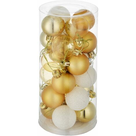 Christmas baubles set of 24 in white/gold - baubles, Christmas tree decorations, Christmas tree baubles - white/gold - gold/weiß