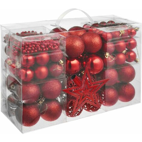 Christmas baubles set of 86 in red - baubles, Christmas tree decorations, Christmas tree baubles - red