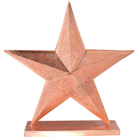 Christmas Copper Table Star Lamp with Etching