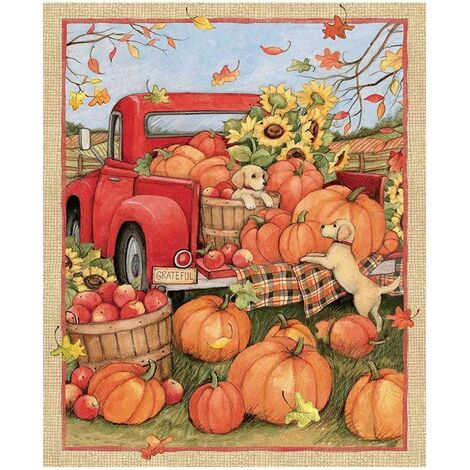 "main image of ""Christmas Decor Fun 36x44 Panel Snowman Gifts Snow Cotton Fabric Pumpkin Car Pattern Gift"""
