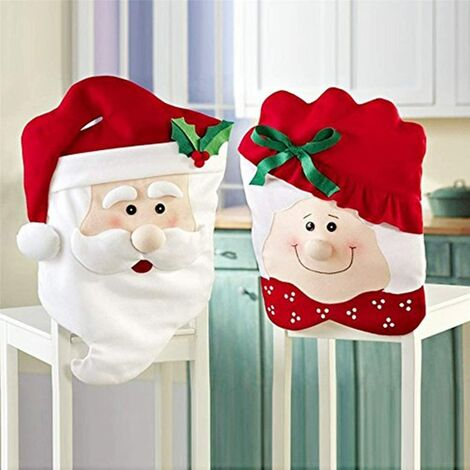 """main image of """"Christmas Decor Kitchen Chair Slip Covers, Red Chair Back Cover Santa Claus Slipcovers for Holiday Party Festival Kitchen Dining Room Chairs"""""""