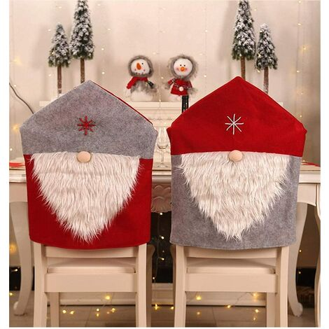 """main image of """"Christmas Decor Kitchen Chair Slip Covers, Red Chair Back Cover Santa Claus Slipcovers for Holiday Party Festival Kitchen Dining Room Chairs (Tomte Gnomes 2pcs)"""""""