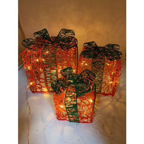 Christmas Decoration 3 Red and Green Glitter Acrylic Parcels Presents with Bow