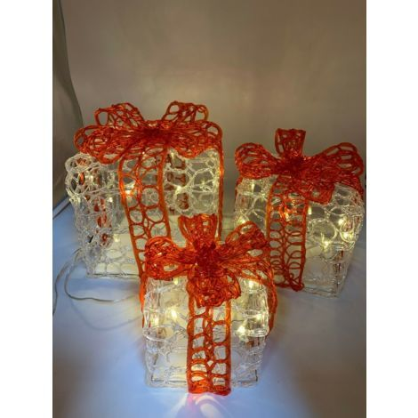 Christmas Decoration 3 Warm White and Red Acrylic Parcels Presents with Bow