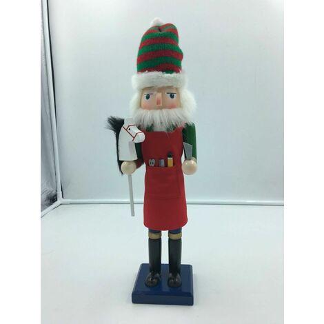 Christmas Decoration Grand 38cms Wood Xmas Elf Nutcracker Toy Maker Helper
