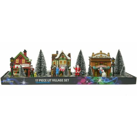 Christmas Decoration -LED Lit Street Set w People, trees, Xmas Scene - 3 houses