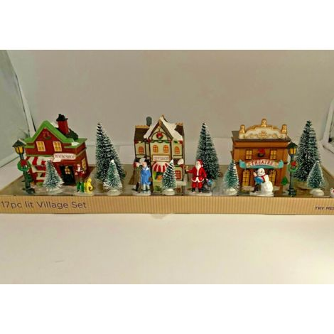 Christmas Decoration -LED Lit Village Set w People, trees, Xmas Scene - 3 houses