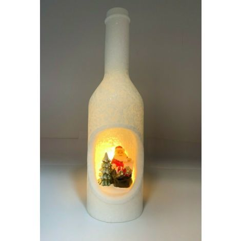 Christmas Decoration LED Snow Ice Effect Bottle with Santa Candle Lantern