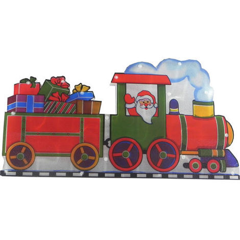 Christmas Decoration Light Up Metallic Santa on his Train Silhouette with LED bulbs 26cm