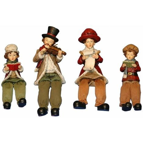 Christmas Decoration -Set of Four Carol Singers with dangle hanging legs Xmas