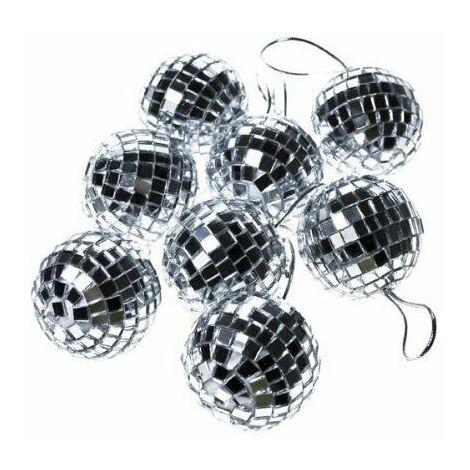 Christmas Decoration - Silver 8 x 50mm Mirror Mosaic Disco Ball Baubles Ornament