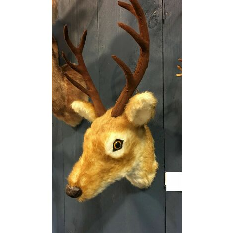 Christmas Decoration Small Artificial Fur Reindeer Deer Stag Head Wall Ornament