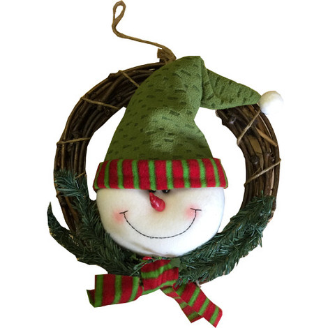 """main image of """"Christmas Decoration Wreath with Snowman 30cm"""""""