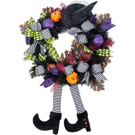 """main image of """"Christmas Decoration,Halloween Decorations ,Witch,Skull Wreath Haunted House Decoration ,Christmas Party Pendant (Witch wreath)"""""""