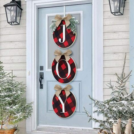 """main image of """"Christmas Decorations - Joy Sign - Buffalo Check Plaid Wreath for Front Door - Rustic Burlap Wooden Holiday Decor for Home Window Wall Farmhouse Indoor Outdoor"""""""