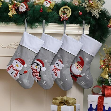 "main image of ""Christmas-Decorative Gifts-Christmas Tree Pendant-Cartoon Christmas Stockings-Children's Christmas Gift Bags-Candy Bag-3 Packs-Gray Christmas Stockings-Random Patterns"""