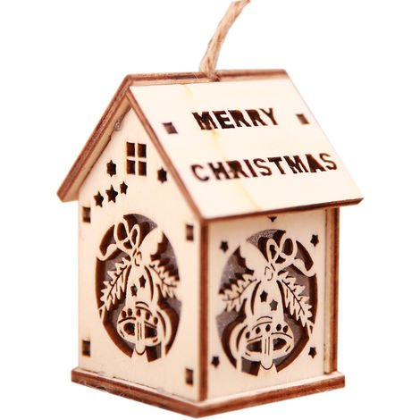 Christmas Decorative LED Light Wooden House Luminous Cute Christmas Tree Hanging Ornaments