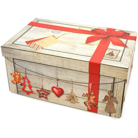 Christmas Eve Box Christmas Gift Red Ribbon Xmas Cardboard Box Decorative