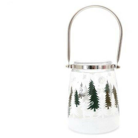 Christmas Forest Candle Pot White