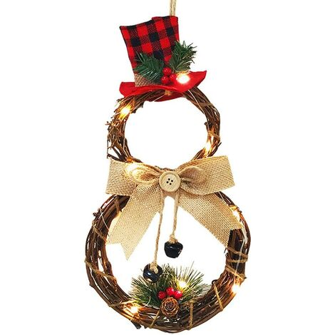 """main image of """"Christmas Front Door Wreath Xmas Wreath Decor with Battery Operated LED Lights, Grapevine Wreath 15.75 * 7.87 Inch Winter Wreath for Door Holiday Christmas Decorations"""""""