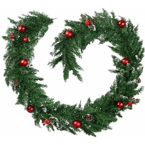 Christmas garland with baubles and pinecones - Christmas wreath, garland, wreath - red/green