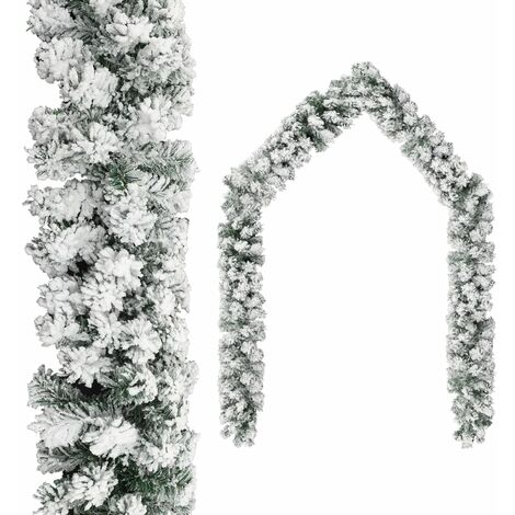 Christmas Garland with Flocked Snow Green 10 m PVC