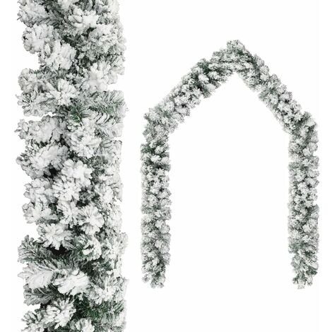 Christmas Garland with Flocked Snow Green 20 m PVC