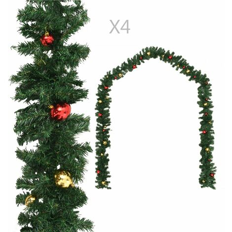 Christmas Garlands 4 pcs with Baubles Green 270 cm PVC