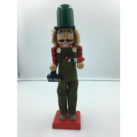 Christmas Grand Smart Gentleman 38cms Wood Xmas Nutcracker Tool man Toy Maker