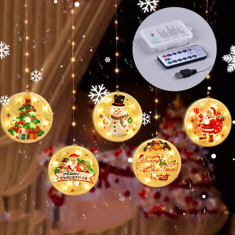 Christmas Hanging Light Waterproof Led Lighting Chains Party Window Tree Decoration String Lamp,with remote control & battery-box
