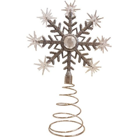 Christmas LED Tree Snowflake Topper Decoration in Silver Glitter