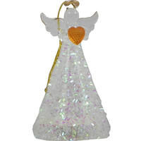 Christmas Light Up Angel with Iridescent Decor & Gold Heart 10cm