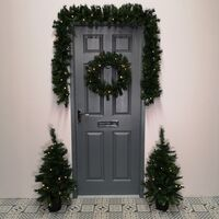 Christmas Light Up LED Door Set - Garland, Wreath and 2 Trees in Gold Pots