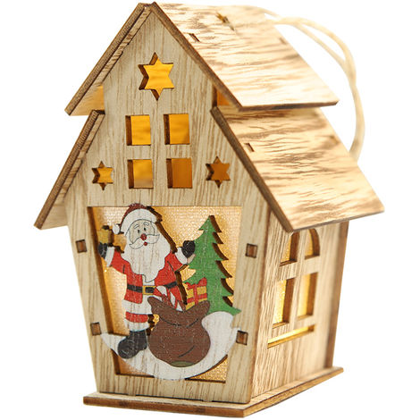 Christmas Luminous Wooden House with LEDs Light DIY Wood Chalet