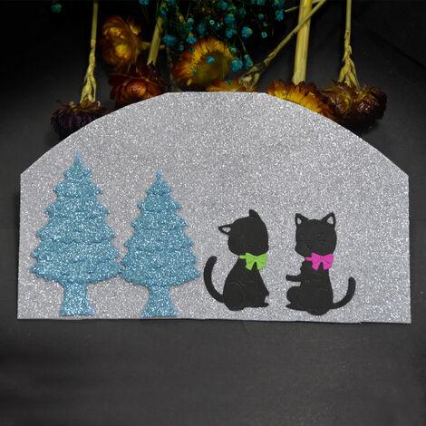 Christmas Metal Cutting Dies Xmas Tree Cute Cats Shape Cutting Die for Kids DIY Scrapbooking Card Photo Album